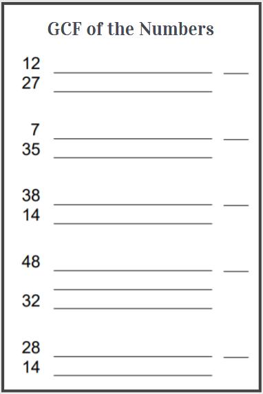 gcf of 2 numbers worksheet