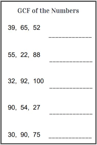 gcf of three numbers worksheet