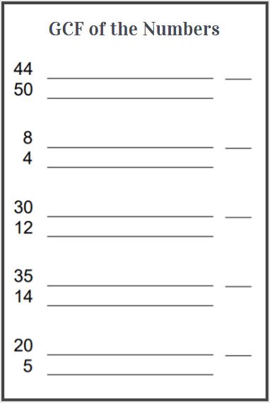gcf of two numbers worksheet