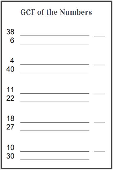 hcf of 2 numbers worksheet