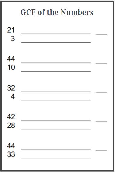 highest common factor worksheet