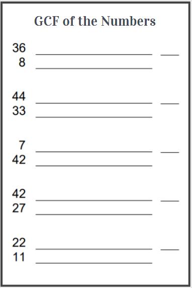 highest common factor worksheets
