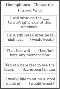 homophones examples