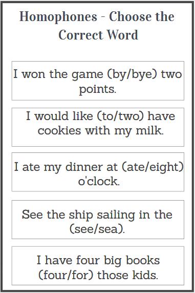 homophones sentence examples