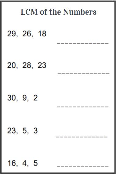 lcm of 3 numbers worksheet