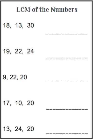 lcm of three numbers worksheet