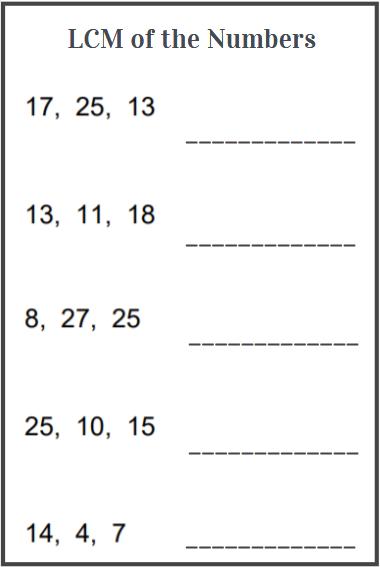 lcm worksheets