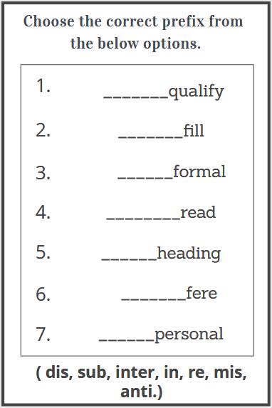 prefixes exercises worksheet