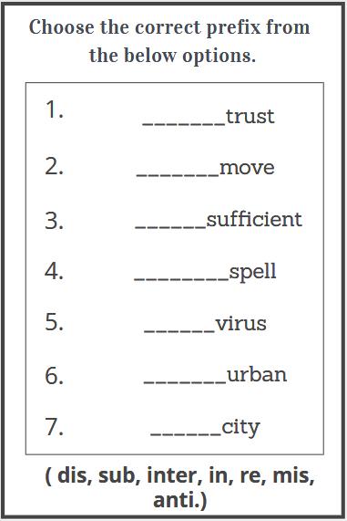 prefixes exercises worksheets