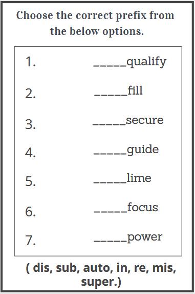 prefixes worksheet
