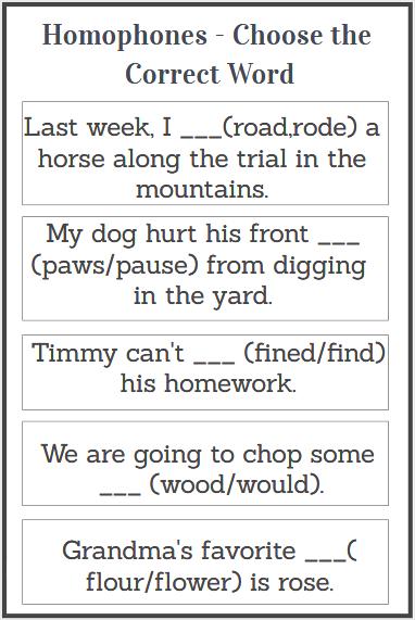 printable homophones worksheet