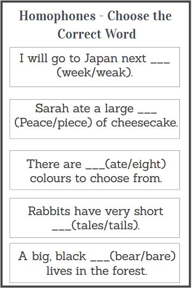 printable homophones worksheets