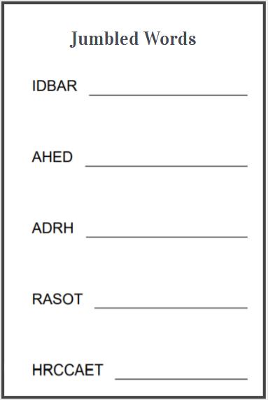 scramble spelling words worksheet