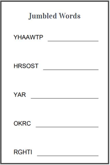 scramble words printable worksheets