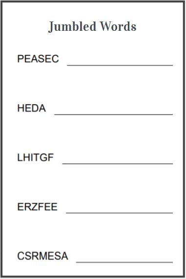 scramble words worksheet