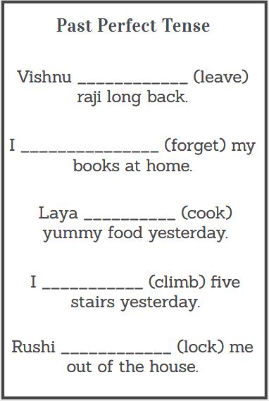 simple past perfect tense worksheet