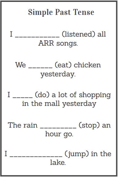 simple past tense worksheets