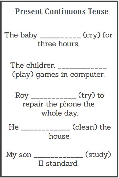 simple present continuous tense worksheet