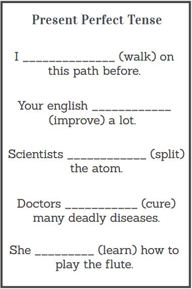 simple present perfect tense worksheet