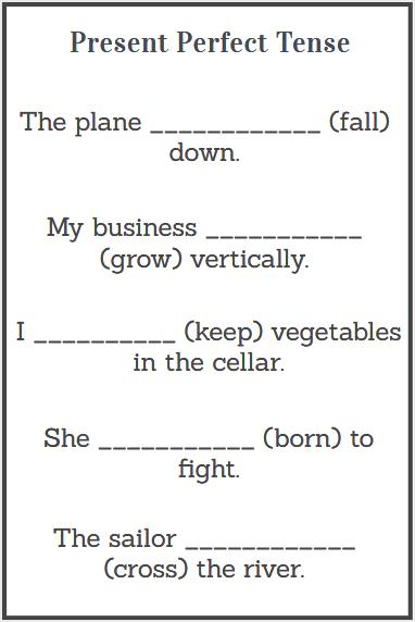 simple present perfect tense worksheets
